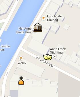 Situación de la Casa de Ana Frank en el Mapa Interactivo de Ámsterdam