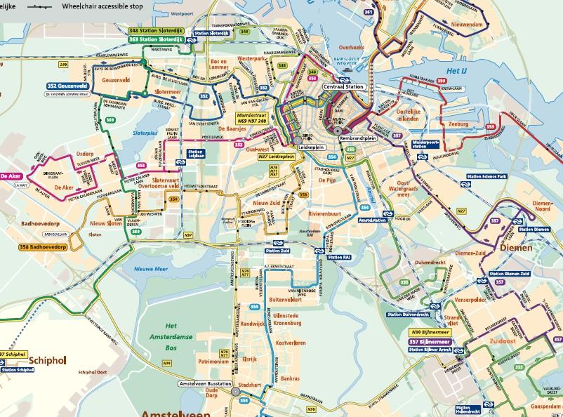 Mapa de líneas de autobuses nocturnos en Ámsterdam
