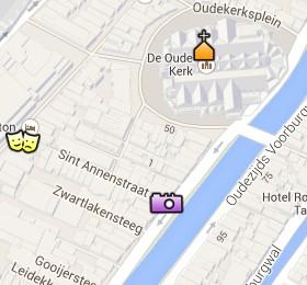 Situación de la Oude Kerk en el Mapa Interactivo de Ámsterdam