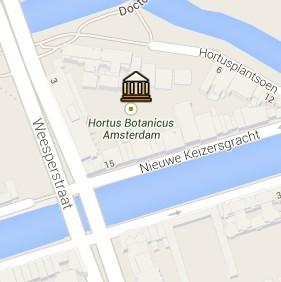 Situación del Hortus Botanicus en el Mapa Interactivo de Ámsterdam