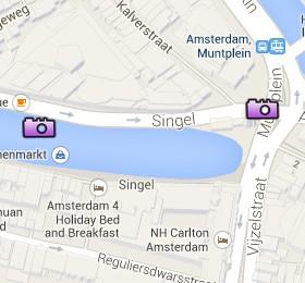 Situación de la Munttoren en el Mapa Interactivo de Ámsterdam