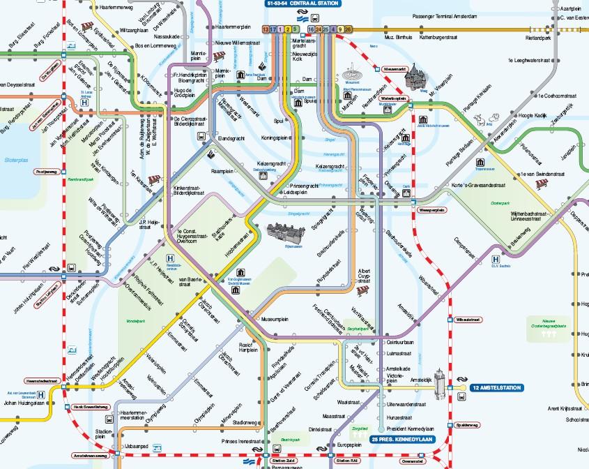 Mapa de la red de tranvía y metro en Ámsterdam