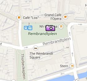 Situación de la Rembrandtplein en el Mapa Interactivo de Ámsterdam