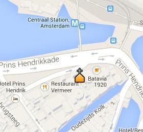 Situación de la Basílica de San Nicolás en el Mapa Interactivo de Ámsterdam
