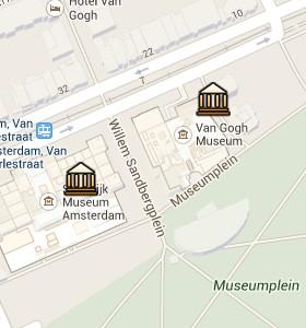 Situación del Museo Van Gogh en el Mapa Interactivo de Ámsterdam